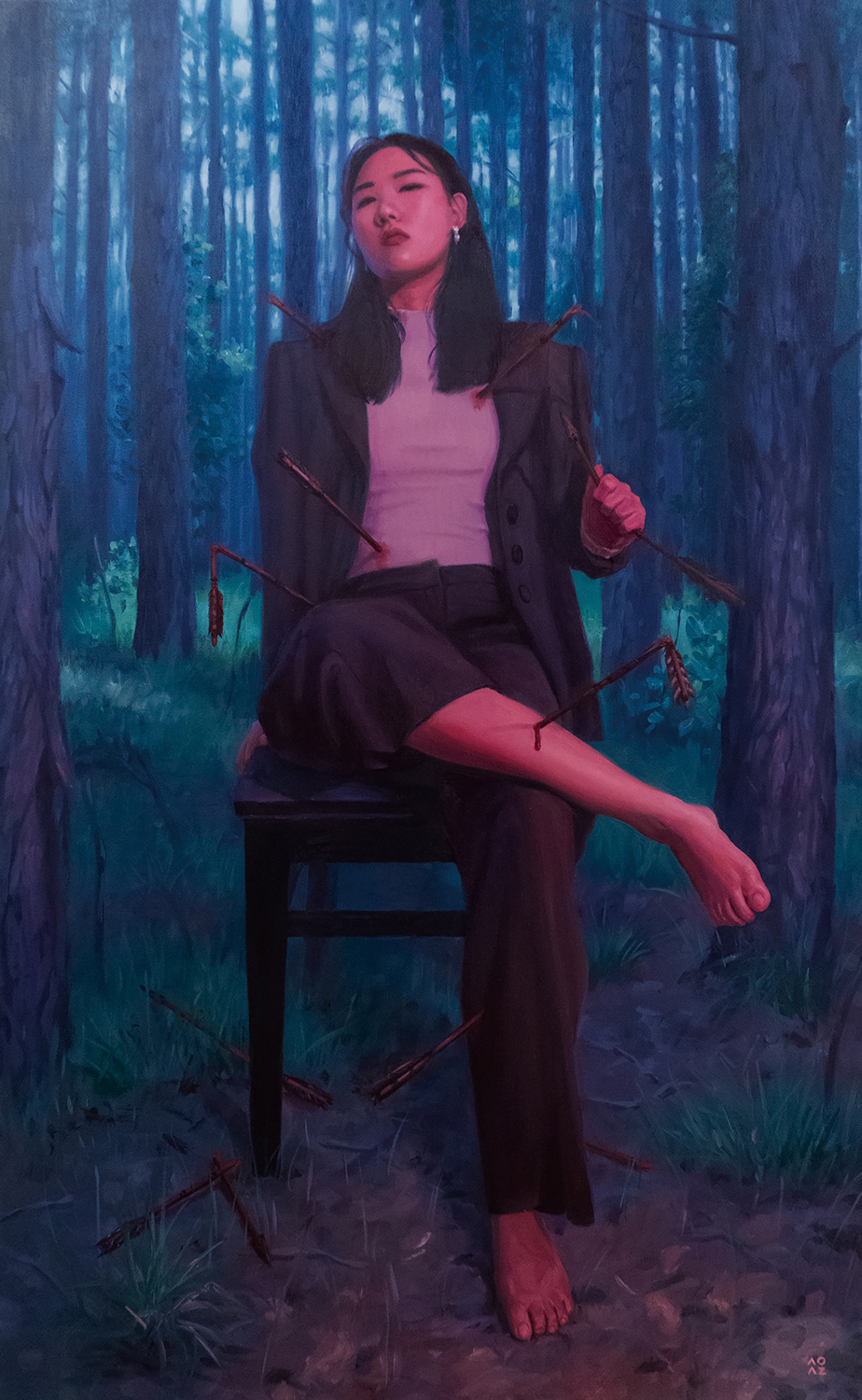 a girl in a suit sitting in forest with arrow shots on her body